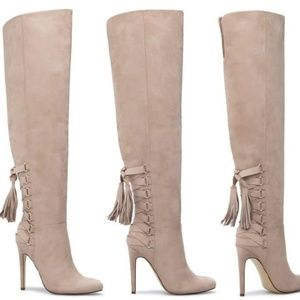Shoedazzle Fringe Lace Up Over The Knee Boots